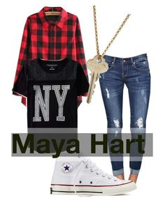 """Maya Hart"" by iisarahanishii ❤ liked on Polyvore featuring Aéropostale, Converse and The Giving Keys"