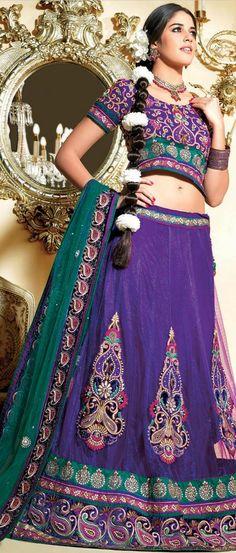 Purple Net Flared #Lehenga Choli with Dupatta @ $274.41 | Shop Now @ http://www.utsavfashion.com/store/sarees-large.aspx?icode=ldw363a
