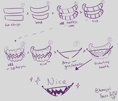 """mouth& tutorial thingo (at least.) i hope it helps~~"""" Drawing Base, Manga Drawing, Drawing Reference Poses, Drawing Tips, Teeth Drawing, Drawing Expressions, Digital Art Tutorial, Art Poses, Art Studies"""