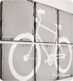 Distressed Retro Bike Painting Large Wall Art by RightGrain