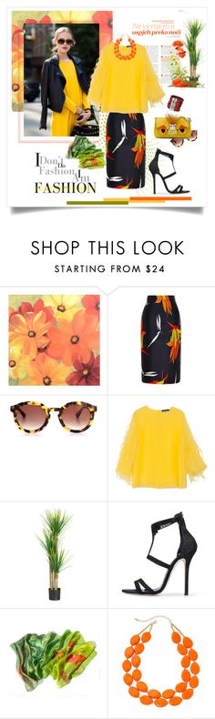 """Mustard Yellow Please"" by judysingley-polyvore ❤ liked on Polyvore featuring Marni, Thierry Lasry, Andrew Gn, Nearly Natural, Oscar de la Renta, Mixit and Uno de 50"
