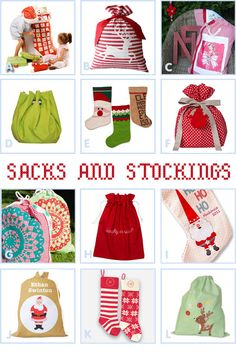 Santa sacks for stockings...very clever