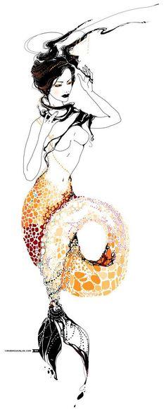 via Mystic Medusa (Maikenzy! This would so be me if I were a mermaid! Illustrations, Illustration Art, Capricorn Tattoo, Capricorn Art, Pisces Girl, Inspiration Artistique, Drawn Art, Tattoo Motive, Inspiration Tattoos
