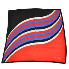 """Christian Dior Multi-Color """"Waves"""" Silk Scarf 
