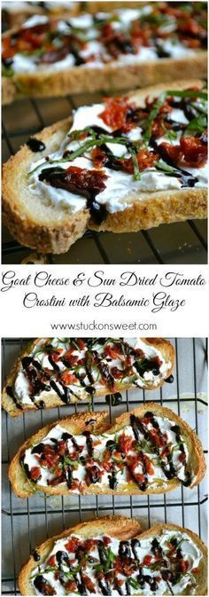 Goat Cheese & Sun Dried Tomato Crostini with Balsamic Glaze. A simple and easy appetizer recipe! | www.stuckonsweet.com #BruschettaRecipe
