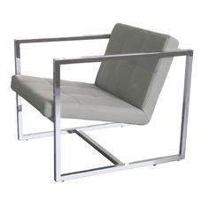 grey chrome modern lobby chair by whiteline - Lobby Furniture Modern