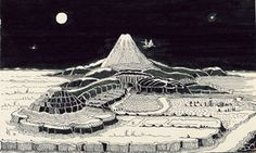 Tolkien's own drawing of The Hobbit landscape. - The Hobbit as depicted in art over the decades Tolkien Hobbit, Lotr, O Hobbit, Hobbit Art, Hobbit Hole, Tolkien Drawings, Pen Drawings, Middle Earth, Lord Of The Rings