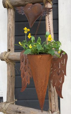 Rustic flower holder  Flower pot with pansies