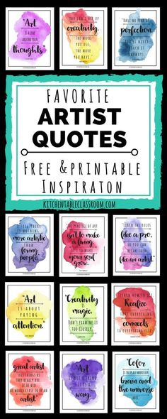 Famous Artist Quotes -Art Quotes to Inspire Creativity – The Kitchen Table Classroom It's about the making not what is being made! Be an artist! Let these artist quotes encourage each of you to embrace creativity in whatever form suits you! Famous Artist Quotes, Famous Artists, Famous Quotes, Quotes Quotes, Quotes Kids, Funny Quotes, Artist Quotes Funny, Art Teacher Quotes, Art Quotes Artists