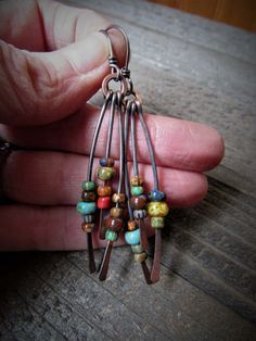 Hammered Copper Beaded Fringe Dangle by AllowingArtDesigns on Etsy