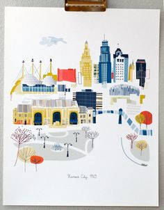 Kansas City skyline - so many places we love to visit via MAX and Metro. From albiedesigns on Etsy.