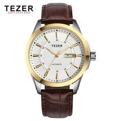 82.61$  Buy here - http://alixtm.worldwells.pw/go.php?t=32669413913 - Oline Best Watch Brands TEZER Genuine Leather Strap Mens Wrist Watches 50M Waterproof Fashion Quartz Wristwatches Man Clock Box