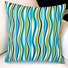 Artisan Pillows Indoor/ Outdoor 18-inch Blue Green Stripe Modern Caribbean Coastal Beach House Throw Pillow Cover (Set of 2)