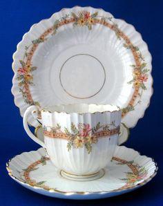 Regency Era Cup Saucer Plate England Peach Ribbons Flowers Teacup Trio 1820s