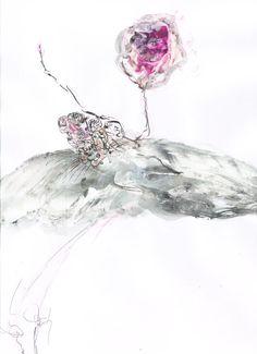 Love in a hot air balloon - mixed media, 2014 #iamdanielfisher #art #fashionillustration