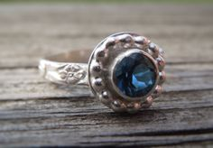 London Blue Topaz Ring with Patterned Sterling Silver Band. Unique Vintage inspired engagement ring with Beaded halo bezel set topaz by LoMoStudio on Etsy
