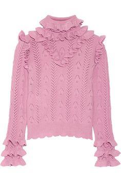 GUCCI Ruffled Pointelle-Knit Wool-Blend Sweater. #gucci #cloth #knitwear