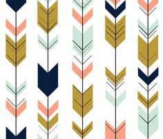 Fletching arrows // mint/coral/navy/gold fabric by littlearrowdesign on Spoonflower - custom fabric