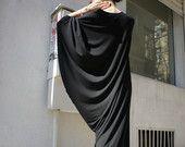 Black Asymmetrical Tunic Dress / Kaftan / Off Shoulder Dress / Maxi Blouse A03014