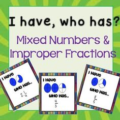 Fun way to practice mixed numbers and improper fractions. 4th Grade Fractions, Grade 6 Math, Improper Fractions, Fourth Grade Math, Math Lesson Plans, Math Lessons, Math Coach, Math Groups, Math Strategies