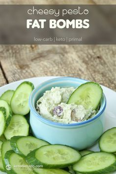 5-minute high-fat low-carb dip: Cheesy Pesto Fat Bombs (keto, primal)