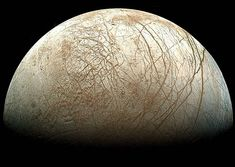 Gibbous Europa  Credit: Galileo Project, JPL, NASA; reprocessed by Ted Stryk    Although the phase of this moon might appear familiar, the moon itself might not. In fact, this gibbous phase shows part of Jupiter's moon Europa. The robot spacecraft Galileo captured this image mosaic during its mission orbiting Jupiter from 1995 - 2003. Visible are plains of bright ice, cracks that run to the horizon, and dark patches that likely contain both ice and dirt...
