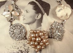 Champagne Ivory Pearl, Rhinestone & Cameo Bridal Bracelet, Antique Silver 1920s Cluster Earring Great Gatsby Vintage Wedding Bridesmaid Gift by AmoreTreasure