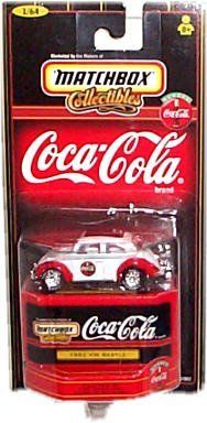 Matchbox Collectibles - Coca-Cola Collection - 1962 VW (Volkswagen) Beetle (White & Red) - 1:64 Scale:   Matchbox Collectibles - Coca-Cola Collection - 1962 VW (Volkswagen) Beetle  White/Red Colors-Red above fenders - Coke graphics along side  Raised white letter tires - Appears to have sun/moon roof.  Comes with customized collector box for car storage.  1:64 Scale Collector Series Replica, 1 of 6 in series as shown on back of display card/
