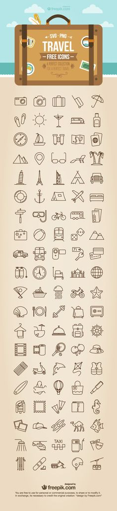 Download an exclusive free set of travel icons provided by Freepik. These free travel icons are available in PNG and SVG formats, making them easy to use.