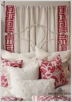 romantic bedroom decorating ideas - I love the print on the curtains and pillows to match!