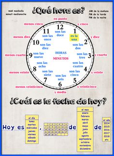 learning spanish Spanish Time - presentation and worksheet Spanish Sentences, Spanish Worksheets, Spanish Teaching Resources, Spanish Grammar, Spanish Vocabulary, Spanish Activities, Spanish Language Learning, Spanish Alphabet, Clock Worksheets