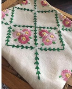 Vintage Hand Embroidered Table Cloth Natural Linen | eBay