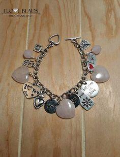 rose quartz heart charm bracelet-stainless steel charm bracelet-heart charm bracelet- I love you charm bracelet-love bracelet-gift for loved by ILoveBeads247 on Etsy