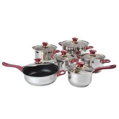 Alpine Cuisine Stainless Steel Capsulated 12-Piece Cookware Set with Brown Glass Lids and Burgundy Handles