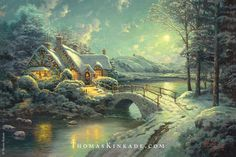 """Thomas Kinkade painted """"Christmas Moonlight"""" in 2006. The radiant dancing moon and bright Christmas lights transport us into this welcoming, peaceful and joyful scene. The light pouring from the windows and smoke curling from the chimney offer a warm and inviting refuge from the cold Christmas Eve. Thom hid 12 N's in this painting for his wife Nanette. #throwbackthursday #tbt #thomaskinkade #christmas"""