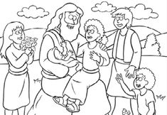 susan akins posted Free Coloring Page: Jesus and the Children - we read the Beginner's Bible for most of our stories, so I think they will love this! to their -Preschool items- postboard via the Juxtapost bookmarklet. Jesus Crafts, Bible Story Crafts, Bible School Crafts, Preschool Bible, Bible Stories, Jesus Coloring Pages, Disney Coloring Pages, Coloring Pages For Kids, Coloring Books