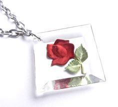 Vintage Rose Necklace - Silver Tone Flower by MaejeanVINTAGE, $14.00