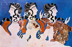 Minoan Wall Painting of The Blue Ladies