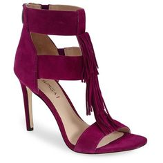 "Via Spiga 'Eilish' Fringe Sandal, 3 3/4"" heel (3 750 ZAR) ❤ liked on Polyvore featuring shoes, sandals, heels, bright plum, heels stilettos, ankle strap shoes, fringe sandals, t strap shoes and stiletto sandals"