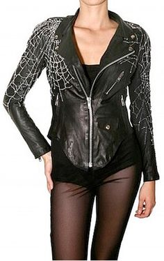 Leather jacket with spider wed crystal beading