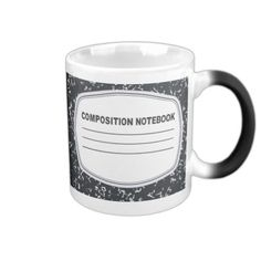 Customizable Composition Notebook Coffee Mug--It's time to go old school with this Customizable Composition Notebook coffee mug! The double-sided design features a classic black and white cover of the composition book of everyone's childhood. #School #Teacher #Notebook #Students #Graduate #Zazzle