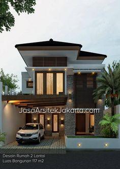 Desain Rumah 2 Lantai Dengan Luas Bangunan 117 m2 Yang Berlokasi di Lampung.