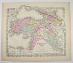 Middle East Map Syria Palestine Iran Turkey in Asia Armenia 1856 Colton Map Unique Gift idea for New Home Historic Map Antique Art Wall Map by OldMapsandPrints on Etsy