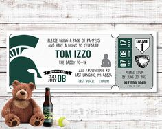 Personalized Diaper Party Ticket Invitations. Michigan State, Redwings, Detroit Tigers, Baltimore Orioles, Atlanta Braves, Any Team, MLB, NFL, NHL, NBA