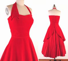 1950's Red Velvet Swing Bombshell Rockabilly Pinup Prom Party Cocktail Dress
