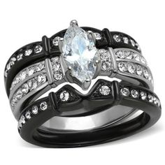 Shelby 3pc Wedding Band Engagement Ring Set AAA Cubic Zirconia Stainless Steel