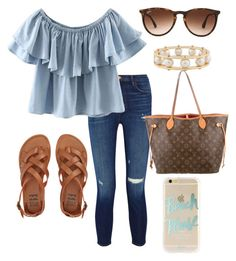 {{ off the shoulder }} by preppy-lilly-girl on Polyvore featuring polyvore, fashion, style, WithChic, J Brand, Billabong, Louis Vuitton, Lele Sadoughi, Ray-Ban, Sonix and clothing