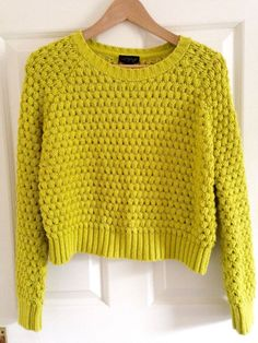 Topshop Puff Stitch Chartreuse Bright Yellow Lime Cropped Jumper 10