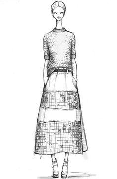 Fashion illustration - chic fashion design sketch for Derek Lam