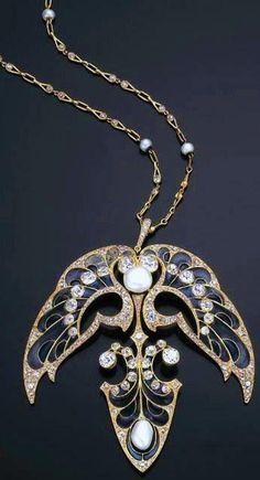 Art Nouveau - Pendentif sur Chaine 'Perles' - Vever